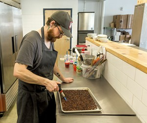 Andrew Burke of Scout & Co. chars cocoa nibs - OLIVER PARINI