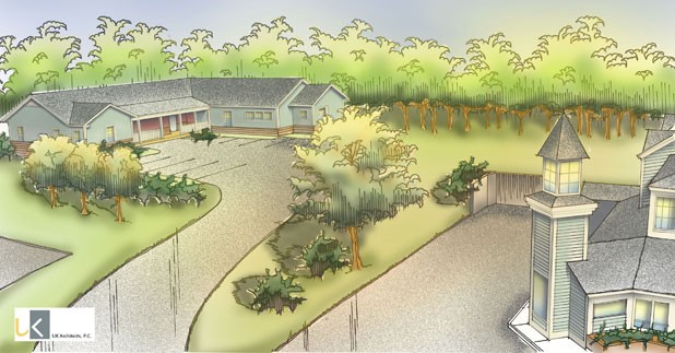 Artistic rendering of the proposed shelter (left)