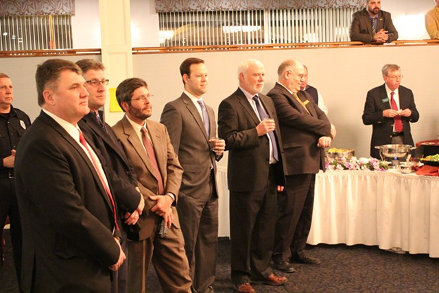Lobbyists and lawmakers at the Capitol Plaza Wednesday night - PAUL HEINTZ