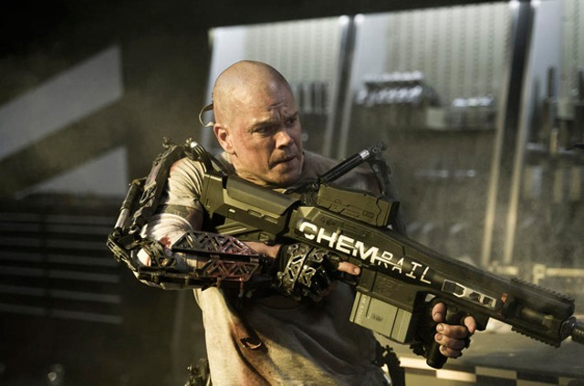 BALD AMBITION Damon plays a criminal turned class warrior in Blomkamp's heavy-handed allegory.