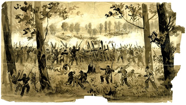 """Battle Two Miles West of Atlanta, 1864"" by John Hillen - COURTESY OF FLEMING MUSEUM"