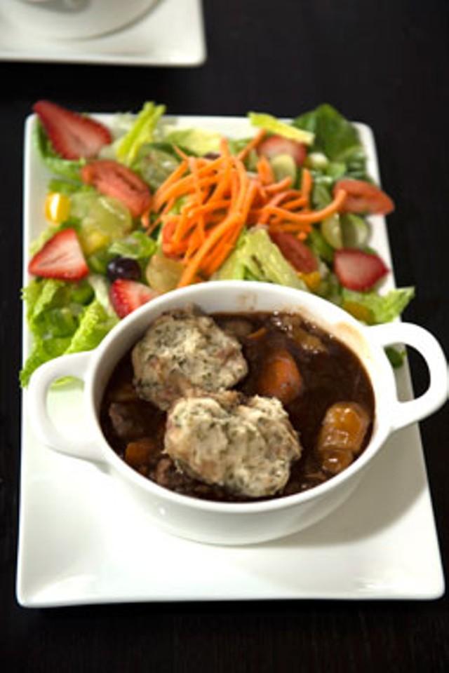 Beef casserole and herb dumplings