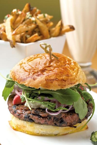 Beet burger and truffle fries - OLIVER PARINI