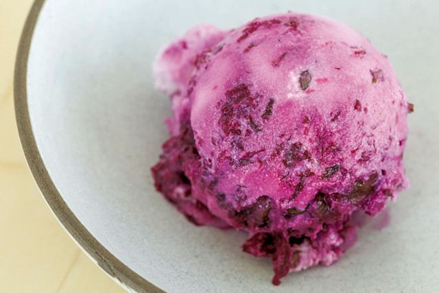 Beet Marmalade & Candied Black Walnut frozen yogurt - OLIVER PARINI