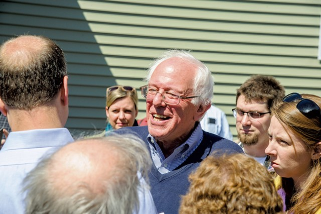 Bernie Sanders outside the home of Eric Zulaski  and Elizabeth Ropp in Manchester, N.H. - ALAN MACRAE