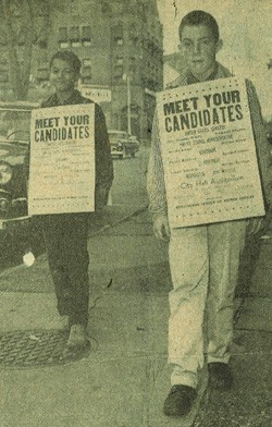 Bill Sorrell (left), in sixth grade, campaigning for Bernard J. Leddy, T.J. Donovan's grandfather