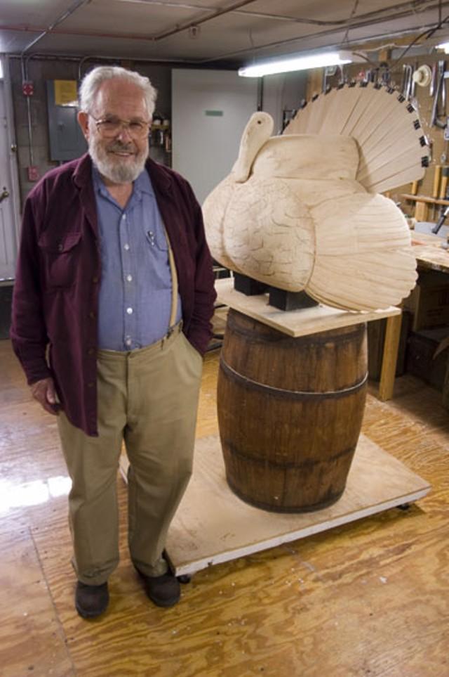 Birds of Vermont Museum sculptor Bob Spear with a work in progress - MATTHEW THORSEN