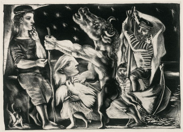 Blind Minotaur Led by a Little Girl in the Night (1934)