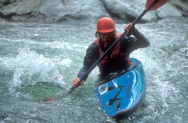 Brennan Severance enjoys an after-work paddle along the Upper Mad River.