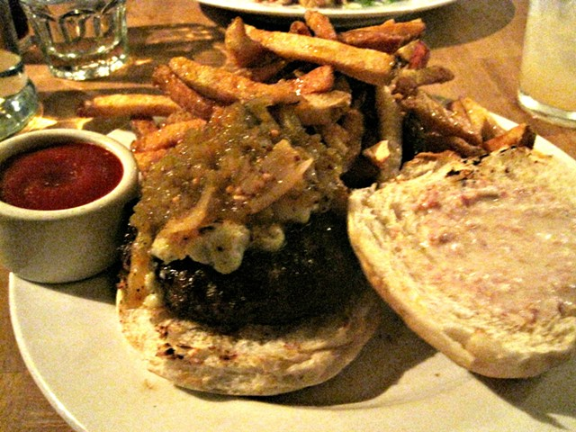Burger with truffle-honey fries