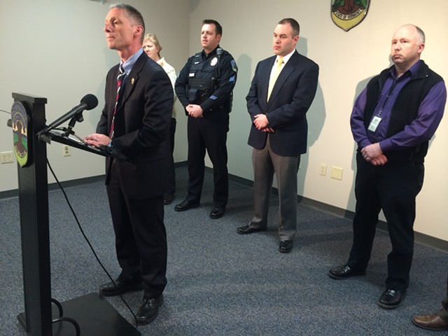 Burlington Police Chief Michael Schirling, with top commanders in the background, at a press conference to discuss a weekend homicide - MARK DAVIS