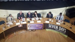 Burlington's mayoral candidates at a recent debate - MATTHEW ROY