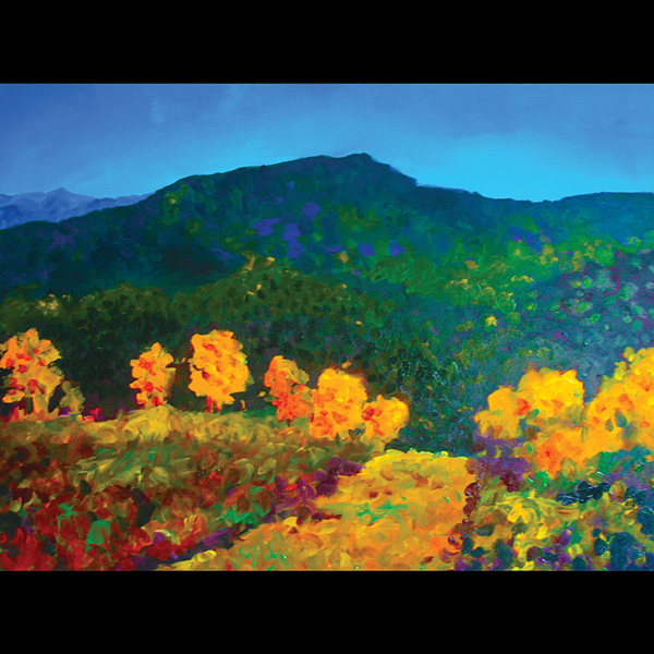 "Carol Boucher, ""Mountains and Yellow Trees"""