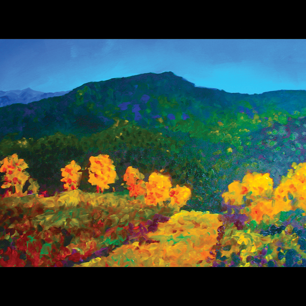 """Carol Boucher, """"Mountains and Yellow Trees"""""""