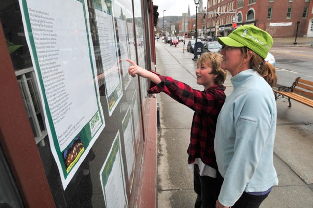 Carolyn and Aidan Casner read 'Poetry Alive!' poems in a Montpelier storefront - JEB WALLACE-BRODEUR