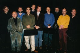 """CATHARSIS"" COMPOSERS from left: Thomas Read, Allen Shawn, Troy Peters, Anthony Cornicello, Don Jamison, Alex Abele, Erik Nielson, Daniel Jessie, David Gunn and Steven Kimowski."