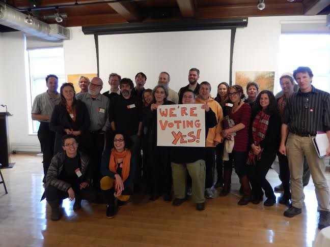 Champlain College adjuncts express their support for forming a union. - COURTESY OF SEIU