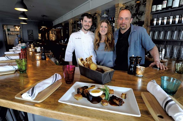 Chef Aaron Martin with owners Jamie Persky and Mark Rosman at Plate in Stowe