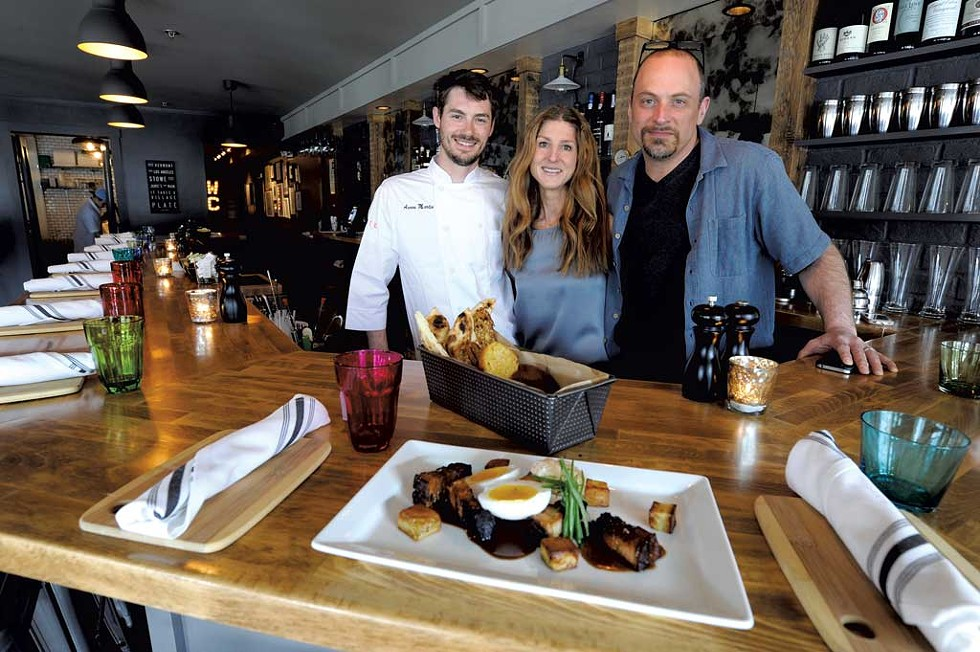 Chef Aaron Martin with owners Jamie Persky and Mark Rosman at Plate in Stowe - JEB WALLACE-BRODEUR