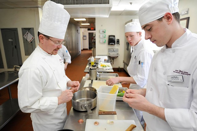 Chef-instructor David Parson and students Jackson Person, right, and Aidan Murch in a Sensory Analysis class - JEB WALLACE-BRODEUR