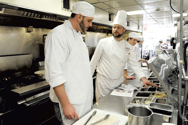 Chef-instructor Ryan O'Malley and student Sean Brasley - JEB WALLACE-BRODEUR