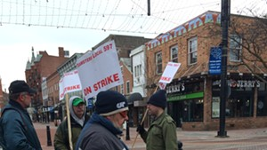 Chittenden County Transportation Authority bus drivers picketing at Church and Cherry streets Friday