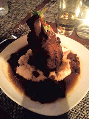 Cider-braised pork shank at the Elusive Moose - COURTESY OF ETHAN DE SEIFE