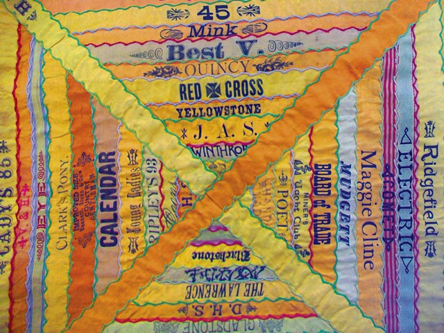 "Cigar Ribbon Quilt that inspired the poem ""Union Label"" by David Weinstock - COURTESY OF THE HENRY SHELDON MUSEUM"