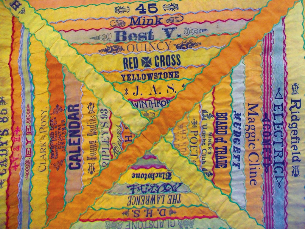"""Cigar Ribbon Quilt that inspired the poem """"Union Label"""" by David Weinstock - COURTESY OF THE HENRY SHELDON MUSEUM"""