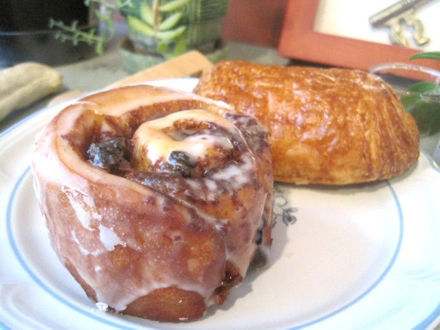 Cinnamon bun and pain au chocolat from Little Sweets