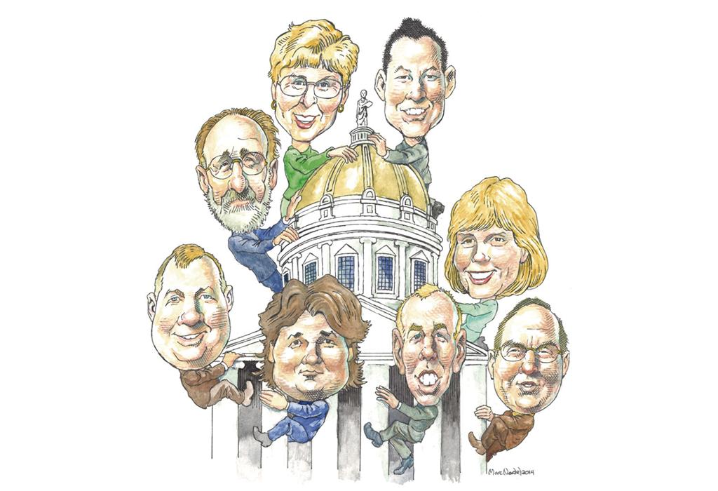 Clockwise from top right: Michael Ly (R), Jean O'Sullivan (D), Roy Collette (L), Scot Shumski(R), Loyal Ploof (L),   Kurt Wright (R), Bob Hooper (D), Joanna Cole (D) - MARC NADEL