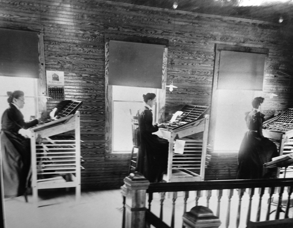 Compositors setting type by hand - in the Herald of Randolph offices of 1899 - COURTESY OF THE HERALD OF RANDOLPH