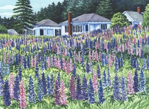 "COURTESY OF FROG HOLLOW - ""Cottages & Lupines"" by Deborah Holmes"