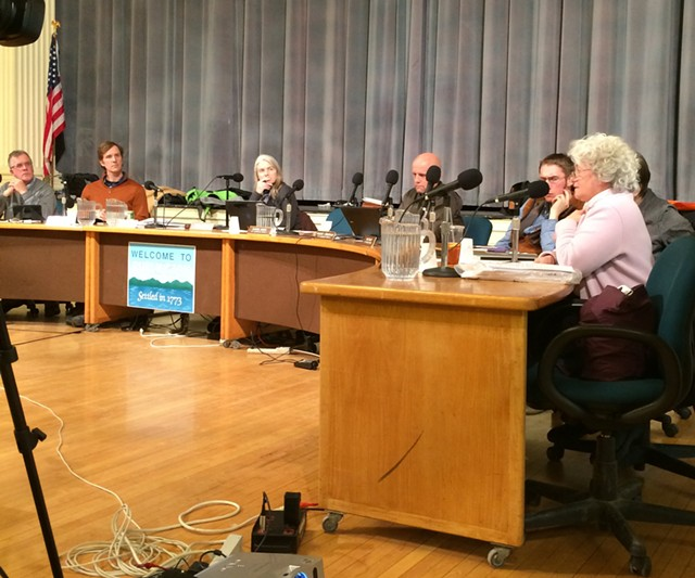Councilor Sharon Bushor, far right, voices concerns about the city's new naming policy for city parks at Monday's city council meeting. - ALICIA FREESE