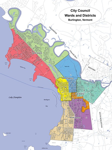 Councilors agreed on the new boundaries last year after a protracted discussion. Dotted lines show the four districts, which are made up of two wards each. 