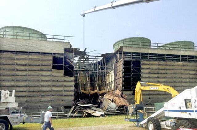 Damaged Cooling Tower At Vermont Yankee, August 2007