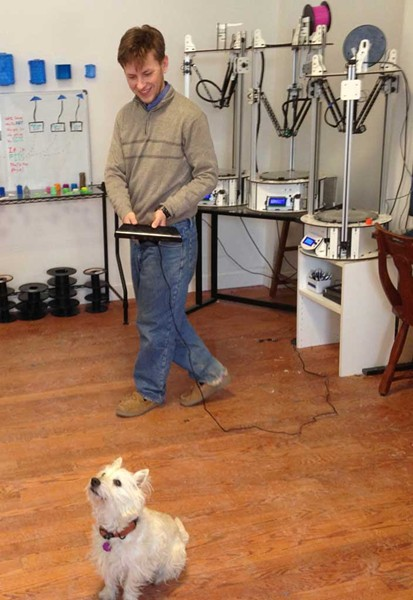 Dan Riley scans Rufus - COURTESY OF KEN PICARD