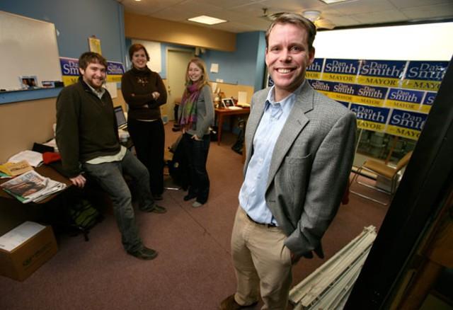 Dan Smith with campaign staff - JORDAN SILVERMAN