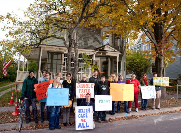 Demonstrators outside Broughton's Burlington home