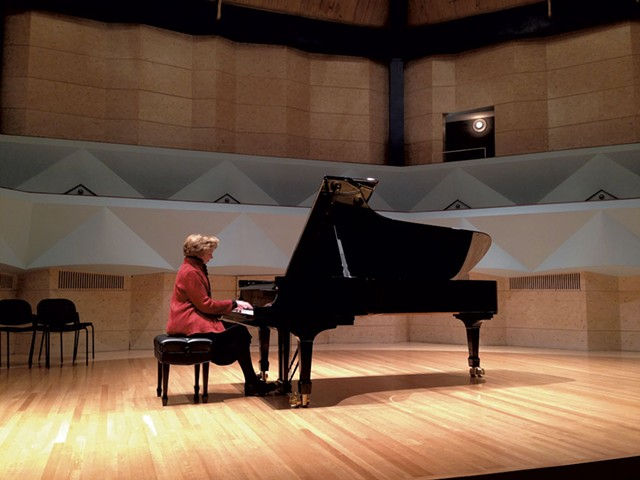 Diana Fanning plays Middlebury's Steinway grand - COURTESY OF MIDDLEBURY COLLEGE