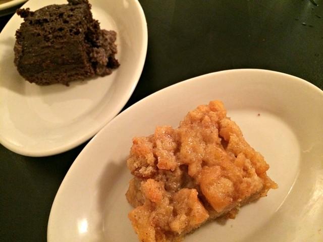 Doughnut bread pudding (foreground) and dark-chocolate tres leches cake - ALICE LEVITT