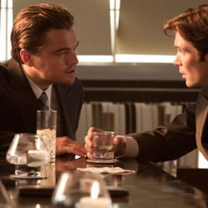 DREAM WEAVER DiCaprio tries to convince Murphy they're both actually asleep in Nolan's convoluted thriller.