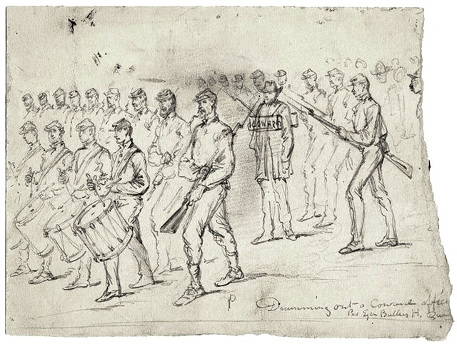 """Drumming Out a Coward Officer"" by Edward F. Mullen - COURTESY OF FLEMING MUSEUM;"