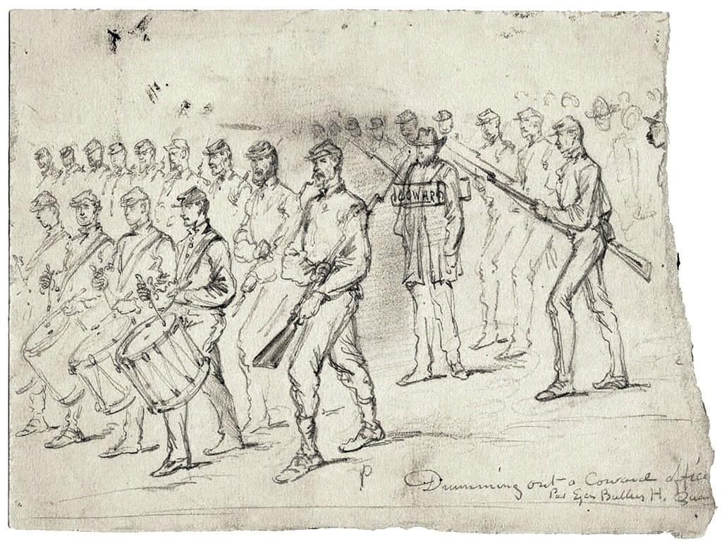 """""""Drumming Out a Coward Officer"""" by Edward F. Mullen - COURTESY OF FLEMING MUSEUM;"""