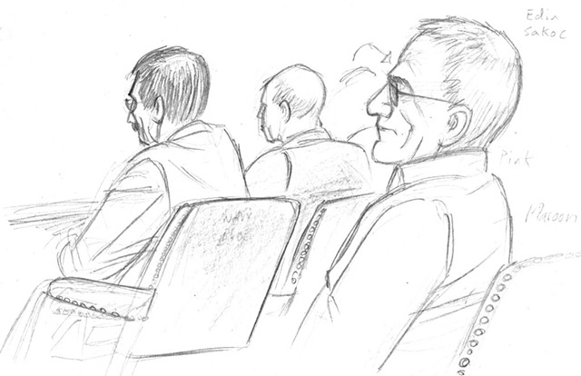 Edin Sakoc with his defense team during the trial - AARON SHREWSBURY