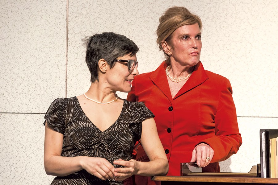 Emer Feeney (left) and Mary Scripps in The Receptionist - OLIVER PARINI