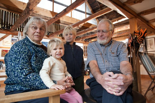 Emilie and Stuart Alexander with their grandchildren Hazel and Asa - MATTHEW THORSEN
