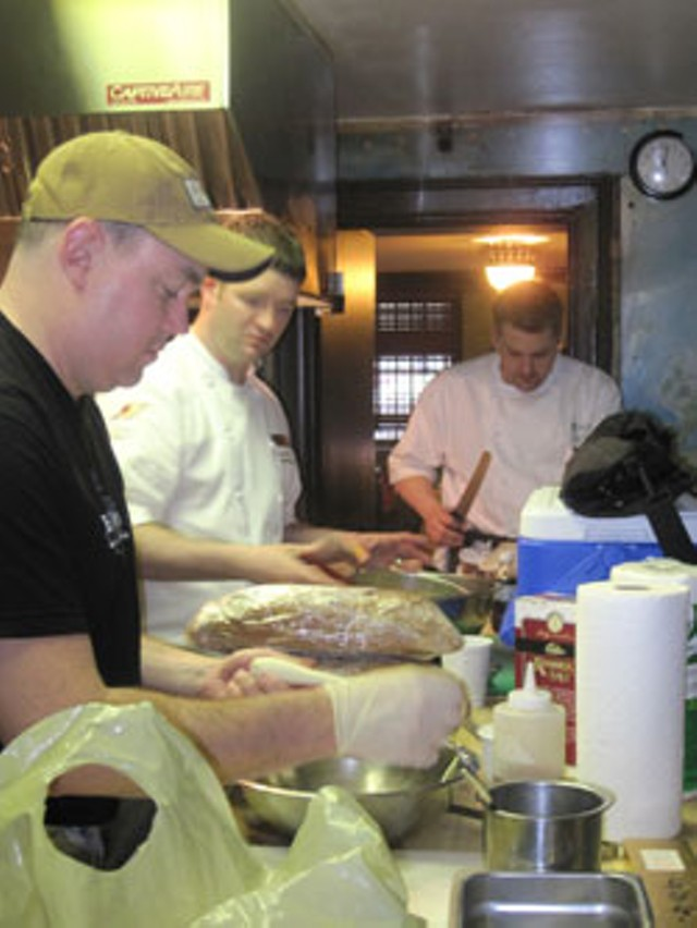 Eric Warnstedt, Sean Buchanan and Mark Timms at work in the Beard House kitchen - ALICE LEVITT