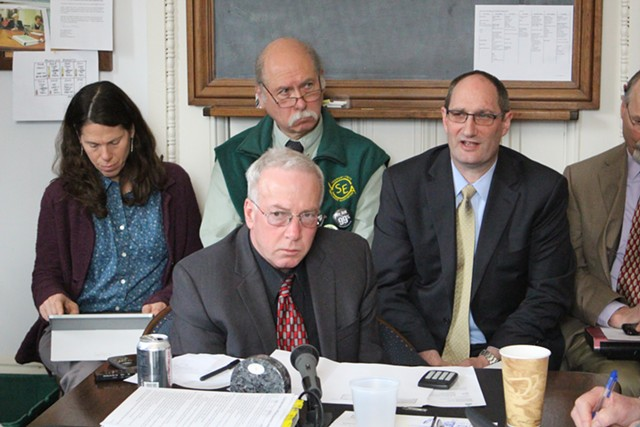 Finance Commissioner Jim Reardon (center left) and Secretary of Administration Justin Johnson (center right) propose last-minute budget changes Thursday morning in the Senate Appropriations Committee. - PAUL HEINTZ