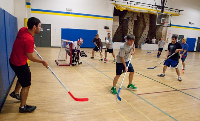 Floor hockey at Edge Sports & Fitness in Essex - MATTHEW THORSEN